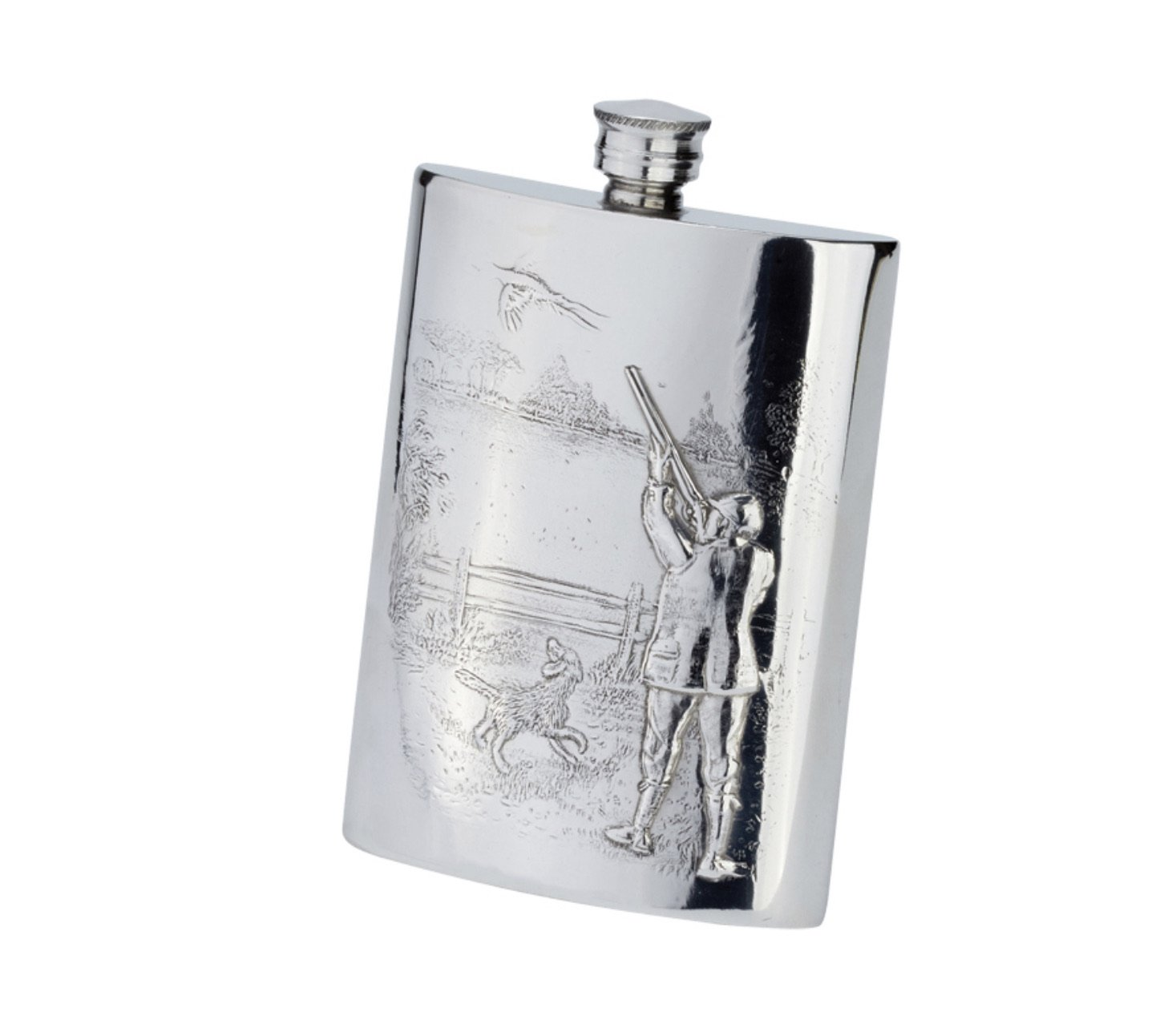 Bisley Pewter Flask 6oz - Gamekeeper Scene